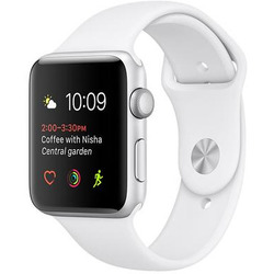 Apple - APPLE WATCH S2 42MM SILVER CASE WHITE SPORT BAND