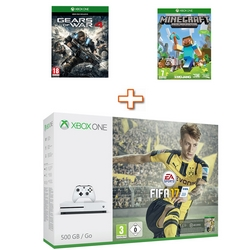 Microsoft - Console XBox One S 500GB White  + Fifa 17 + Minecraft + Gear of War 4
