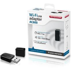 SITECOM - ADATTATORE USB WIFI 150+450MBPS AC600 PENDRIVE NER